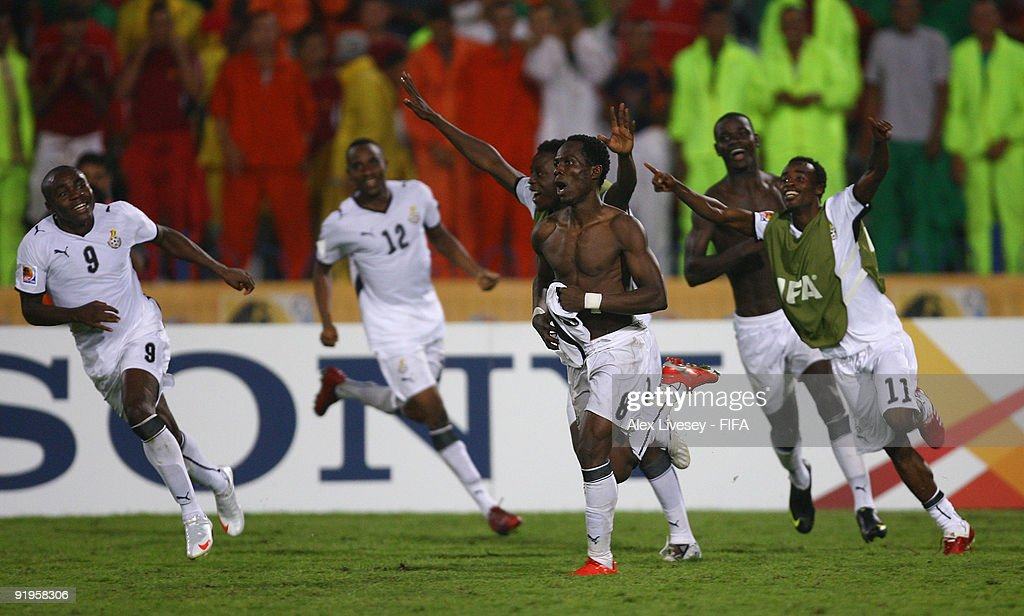 Emmanuel Agyemang-Badu of Ghana (8) celebrates after scoring the winning penalty during a penalty shoot out against Brazil in the FIFA U20 World Cup Final between Ghana and Brazil at the Cairo International Stadium on October 16, 2009 in Cairo, Egypt.