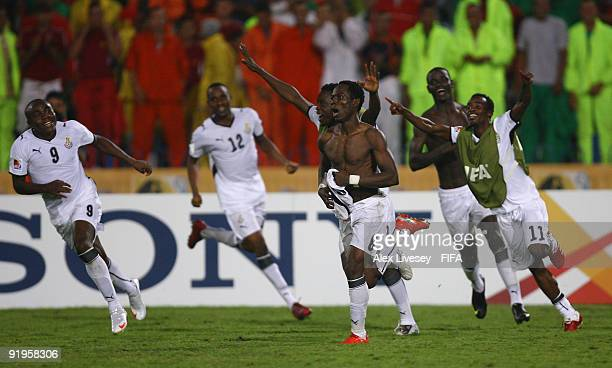 Emmanuel Agyemang-Badu of Ghana celebrates after scoring the winning penalty during a penalty shoot out against Brazil in the FIFA U20 World Cup...