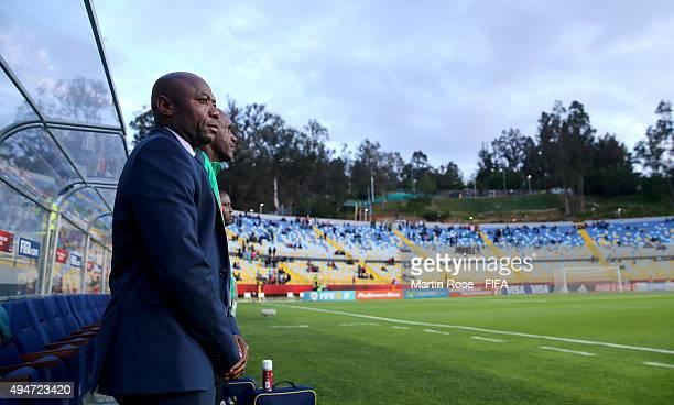 Emmanuel Amunike, head coach of Nigeria looks on before the FIFA U-17 Men's World Cup 2015 round of 16 match between Nigeria and Australia at Estadio...