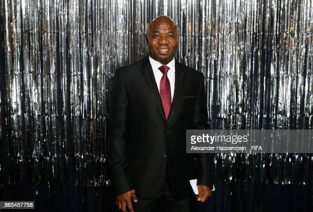 Emmanuel Amunike is pictured inside the photo booth prior to The Best FIFA Football Awards at The London Palladium on October 23, 2017 in London,...