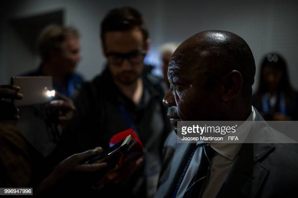 Emmanuel Amunike speks during media briefing with FIFA Technical Study Group at Luzhniki Stadium on July 12 2018 in Moscow Russia