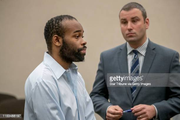 Emmanuel Aranda, the man who threw a 5-year-old boy over a Mall of America balcony, and his lawyer Paul Sellers, right, listened to Judge Jeannice...