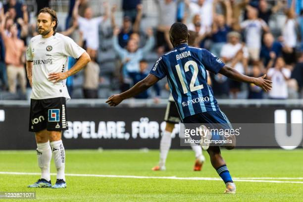 Emmanuel Banda celebrates scoring the 3-0 goal during the Allsvenskan match between Djurgardens IF and Orebro SK at Tele2 Arena on July 5, 2021 in...