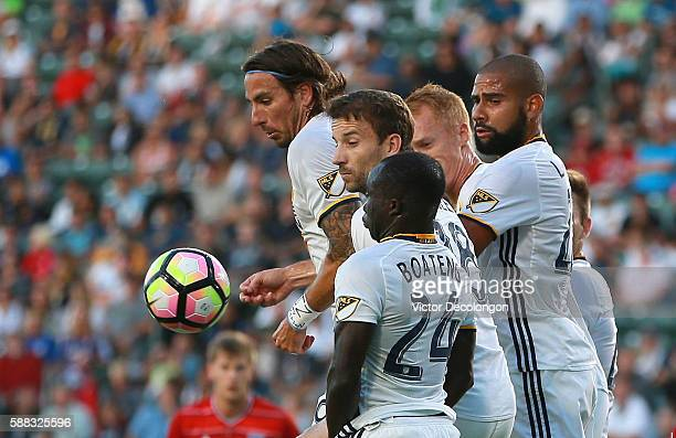 Emmanuel Boateng Mike Magee Alan Gordon Leonardo and Jeff Larentowicz of the Los Angeles Galaxy defend an FC Dallas direct free kick during the first...