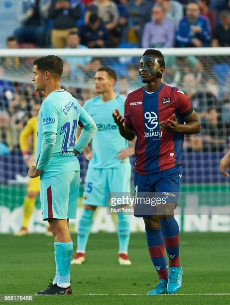 Emmanuel Boateng of Levante UD celebrates a goal during the La Liga match between Levante and FC Barcelona at Ciutat de Valencia Stadium on may 13...