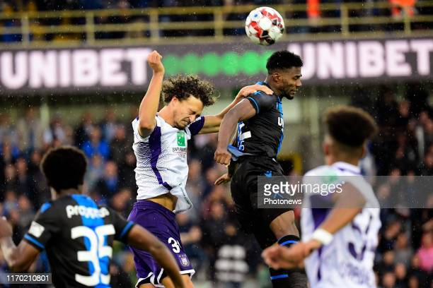 Emmanuel Bonaventure Dennis forward of Club Brugge battles for the ball with Philippe Sandler defender of Anderlecht during the Jupiler Pro League...
