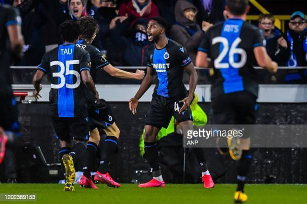 Emmanuel Bonaventure Dennis of Club Brugge celebrate his goal during the UEFA Europa League round of 32 first leg match between Club Brugge KV and...