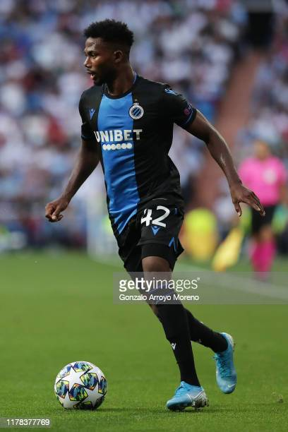 Emmanuel Bonaventure Dennis of Club Brugge runs with the ball during the UEFA Champions League group A match between Real Madrid and Club Brugge KV...