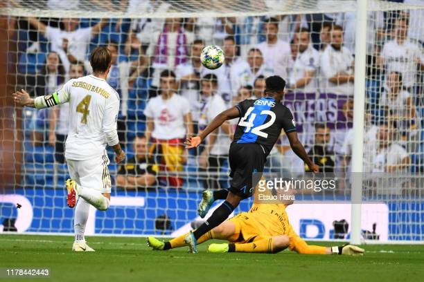 Emmanuel Bonaventure of Club Brugge scores his side's second goal during the UEFA Champions League group A match between Real Madrid and Club Brugge...