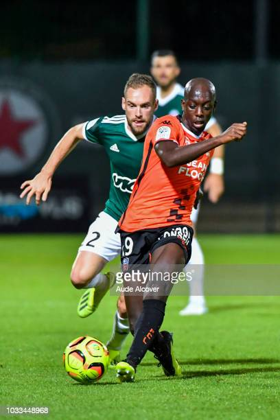 Emmanuel Bourgaud of Red Star and Yoane Wissa of Lorient during the French Ligue 2 match between Red star and Lorient at Stade Pierre Brisson on...