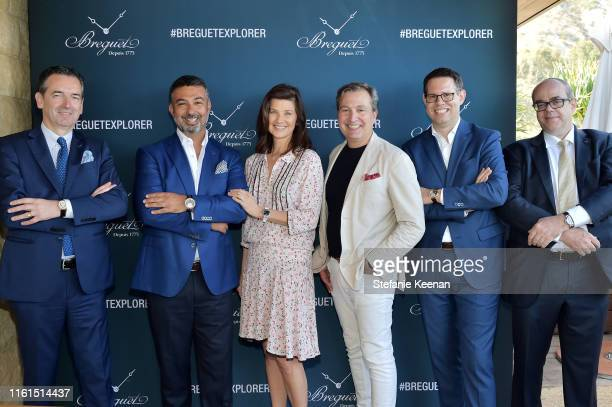 Emmanuel Breguet Ahmad Shahriar Daphne Zuniga Anthony Cenname Dimitri Aubert and Thierry Esslinger attend Breguet Marine Collection Launch at Little...