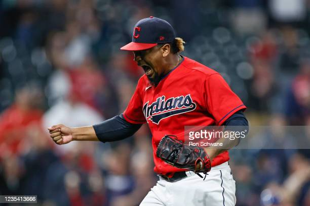 Emmanuel Clase of the Cleveland Indians celebrates a 4-1 victory over the Kansas City Royals at Progressive Field on September 21, 2021 in Cleveland,...