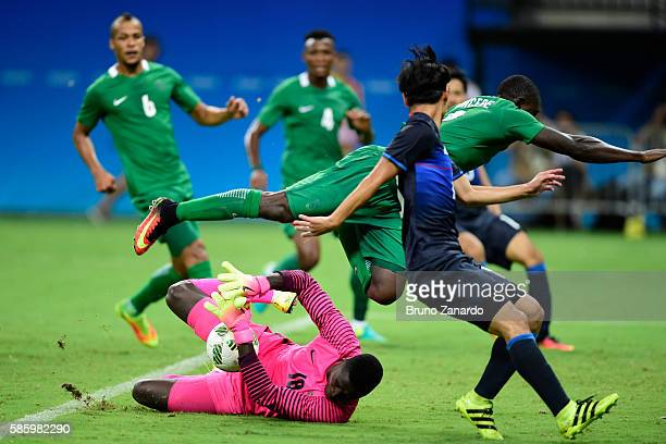 Emmanuel Daniel goalkeeper of Nigeria in action during 2016 Summer Olympics match between Japan and Nigeria at Arena Amazonia on August 4 2016 in...