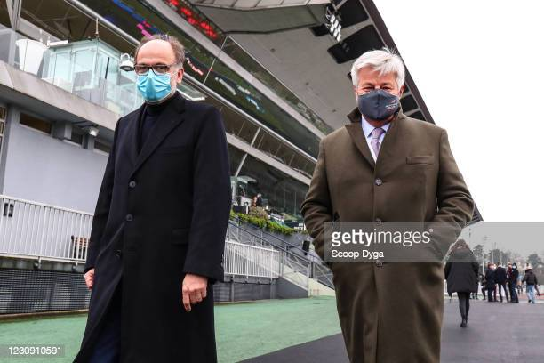 Emmanuel DE ROHAN CHABOT, president of ZeTurf and Jean-Pierre BARJON, president Trot during the Prix d'Amerique in the Prix d'Amerique at Hippodrome...