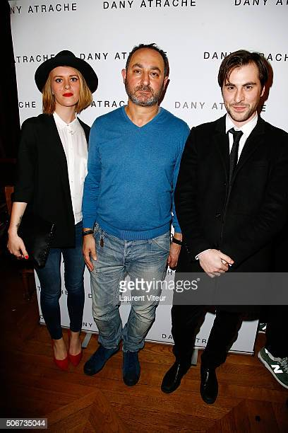 Emmanuel Delpech and his partner Justine Lamirand and Designer Dany Atrache attend the Dany Atrache Spring Summer 2016 show as part of Paris Fashion...