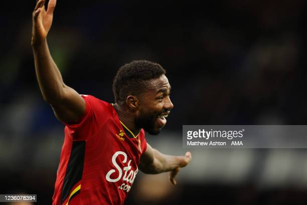 Emmanuel Dennis of Watford celebrates after scoring a goal to make it 2-5 during the Premier League match between Everton and Watford at Goodison...