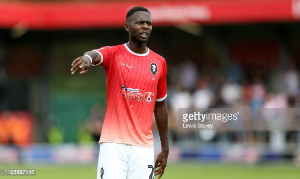 Emmanuel Dieseruvwe of Salford City in action during the Sky Bet League Two match between Salford City and Stevenage at Moor Lane on August 03, 2019...