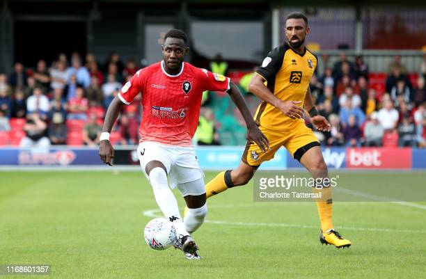 Emmanuel Dieseruvwe of Salford City runs with the ball during the Sky Bet League Two match between Salford City and Port Vale at Moor Lane on August...