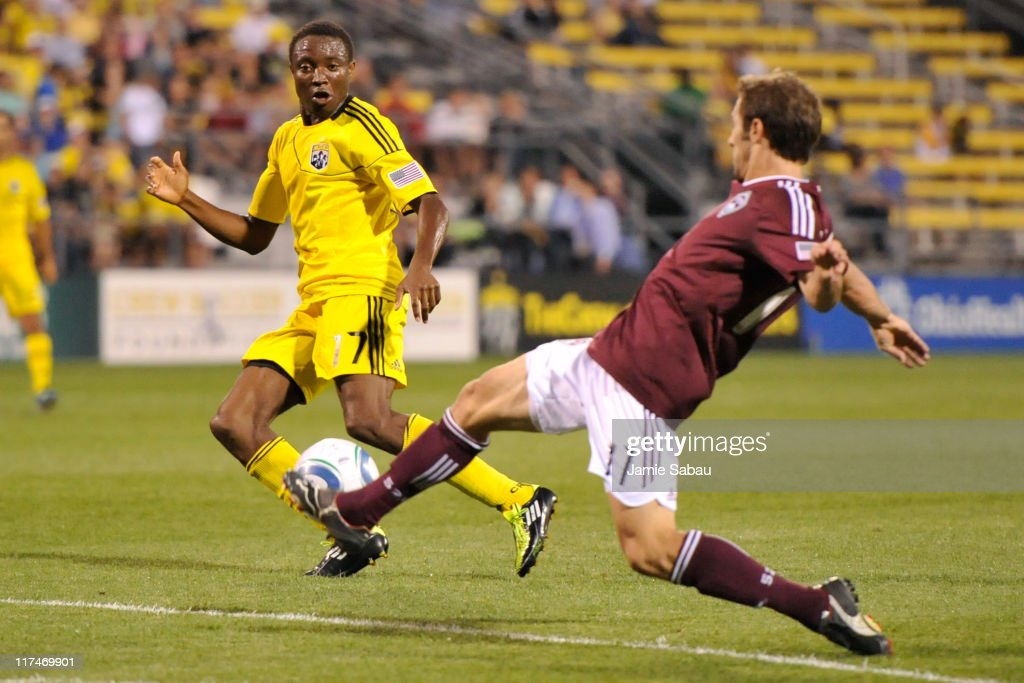 Emmanuel Ekpo #17 of the Columbus Crew defrends against Ian Joyce #17 of the Colorado Rapids on June 26, 2011 at Crew Stadium in Columbus, Ohio. Columbus defeated Colorado 4-1.