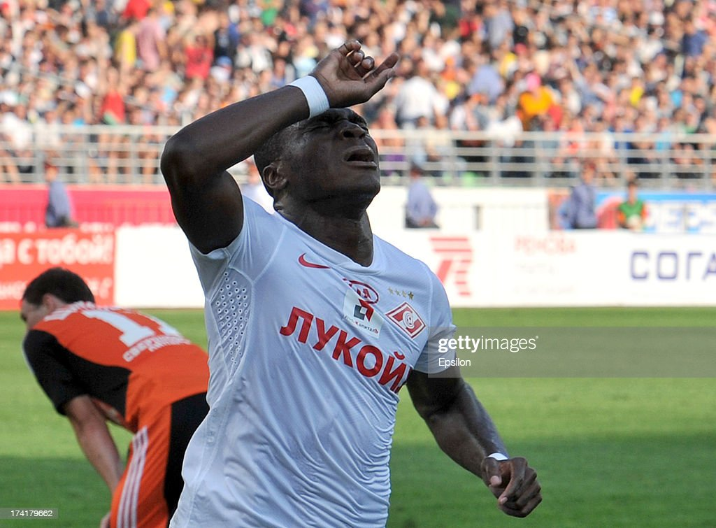 Emmanuel Emenike of FC Spartak Moscow celebrates after scoring a goal during the Russian Premier League match betweenn FC Ural Sverdlovsk Oblast and FC Spartak Moscow at the Tcentralny Stadium on July 21, 2013 in Ekaterinburg, Russia.