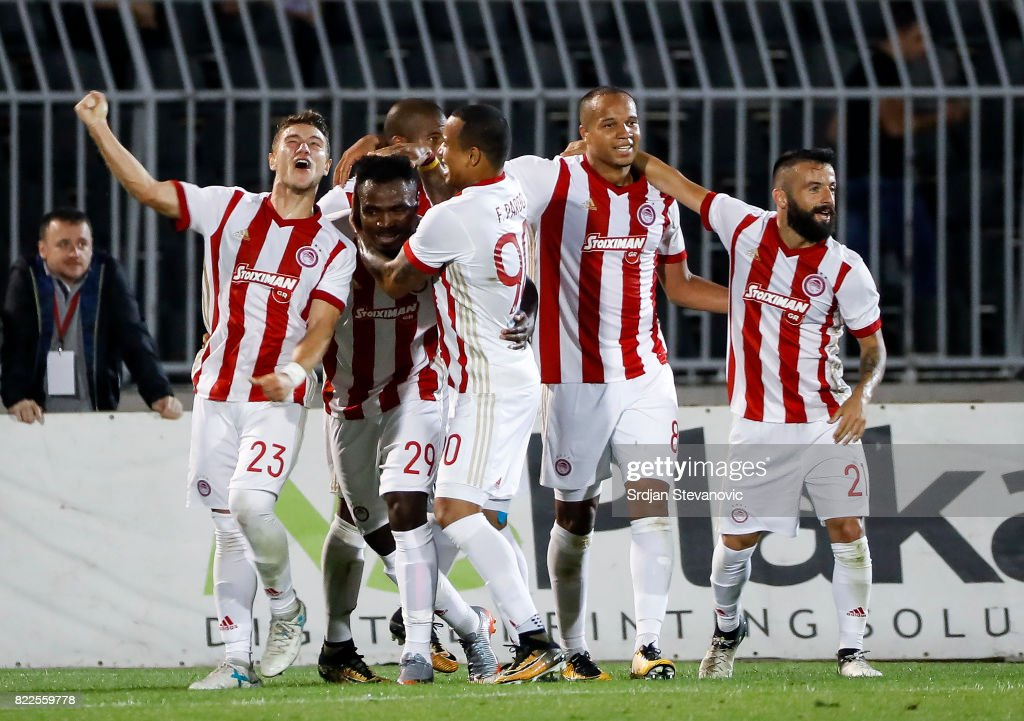 Emmanuel Emenike (C) of Olympiacos celebrate scoring the goal with Leonardo Koutris (L) and Felipe Pardo (R) during the UEFA Champions League Qualifying match between FC Partizan and Olympiacos on July 25, 2017 in Belgrade, Serbia.