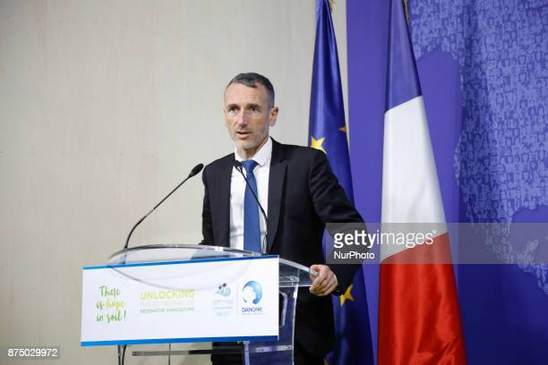Emmanuel Faber CEO of Danone at the COP23 Fiji panel in Bonn Germany on the 16th of November 2017 COP23 is organized by UN Framework Convention for...