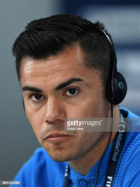 Emmanuel Garcia of CF Pachuca attends a press conference ahead of the FIFA Club World Cup UAE 2017 third place match between Al Jazira and CF Pachuca...