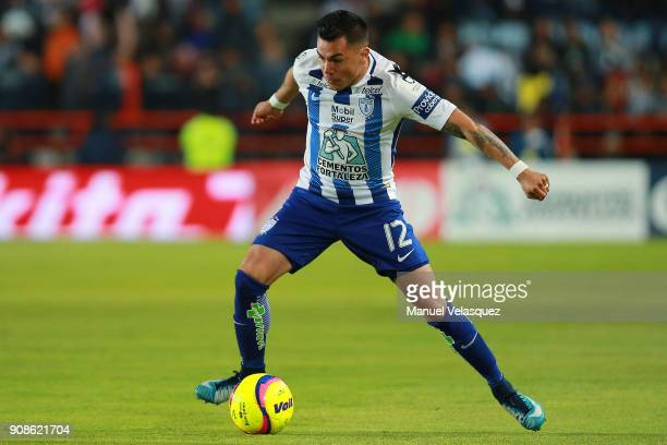 Emmanuel Garcia of Pachuca controls the ball during the 3rd round match between Pachuca and Lobos BUAP as part of the Torneo Clausura 2018 Liga MX at...