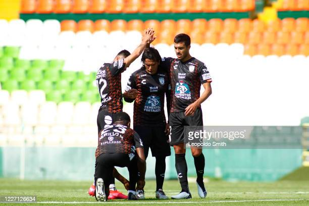 Emmanuel Garcia Oscar Fabian Murillo and Jorge Daniel Hernandez of Pachuca celebrate the first goal of his team during a match between Pachuca and...