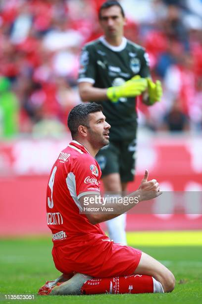 Emmanuel Gigliotti of Toluca gestures during the 13th round match between Toluca and Monterrey as part of the Torneo Clausura 2019 Liga MX at Nemesio...