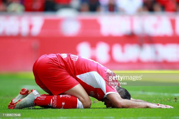 Emmanuel Gigliotti of Toluca reacts during the 13th round match between Toluca and Monterrey as part of the Torneo Clausura 2019 Liga MX at Nemesio...