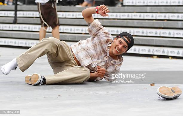 Emmanuel Guzman falls and loses his shoe while competing at the Maloof Money Cup on June 5 2010 at Flushing Meadows Corona Park in the Flushing...