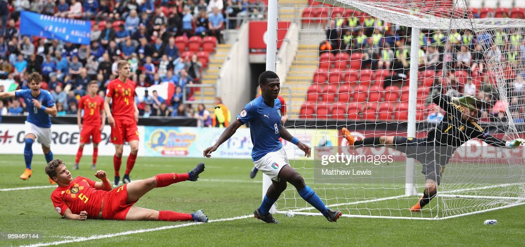 Emmanuel Gyabuaa of Italy celebrates his goal during the UEFA European Under-17 Championship Semi Final match between Italy and Belgium at the New York Stadium on May 17, 2018 in Rotherham, England.