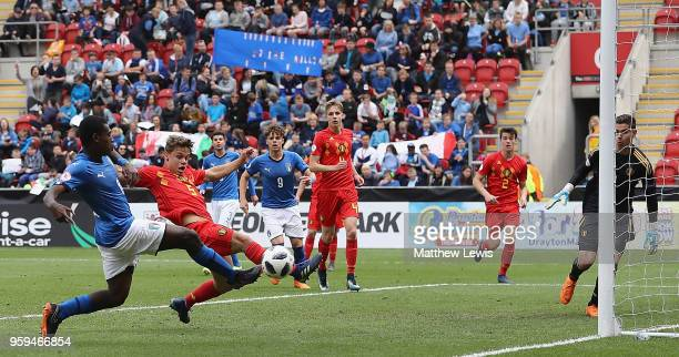 Emmanuel Gyabuaa of Italy scores a goal during the UEFA European Under17 Championship Semi Final match between Italy and Belgium at the New York...