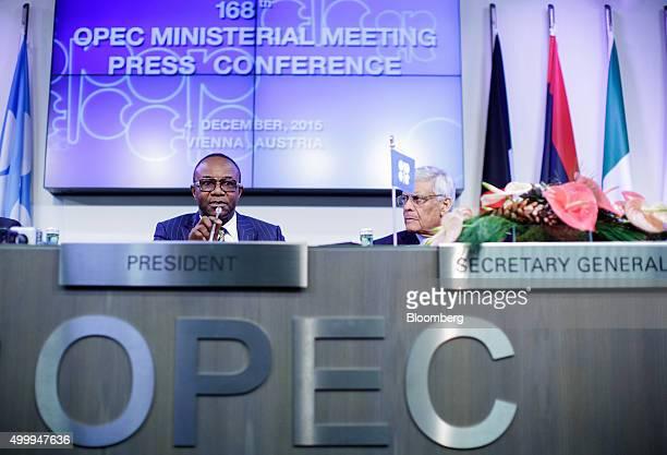 Emmanuel Ibe Kachikwu Nigeria's petroleum and resources minister left speaks as Abdalla ElBadri OPEC secretarygeneral listens during a news...