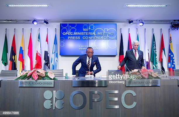 Emmanuel Ibe Kachikwu Nigeria's petroleum and resources minister left and Abdalla ElBadri OPEC secretarygeneral arrive for a news conference...