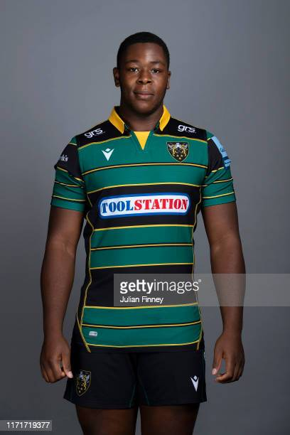 Emmanuel Iyogun of Northampton Saints poses for a portrait during the Northampton Saints squad photocall for the 20192020 Gallagher Premiership Rugby...