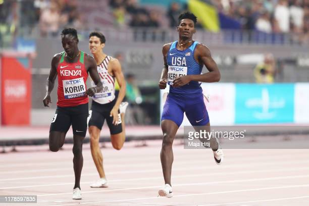 Emmanuel Kipkurui Korir of Kenya and Fred Kerley of the United States compete in the Men's 400 metres semi finals during day six of 17th IAAF World...