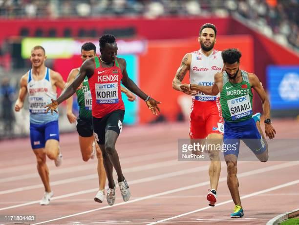 Emmanuel Kipkurui Korir of Kenya and Mostafa Smaili of Morocco competing in the 800 meter for men during the 17th IAAF World Athletics Championships...