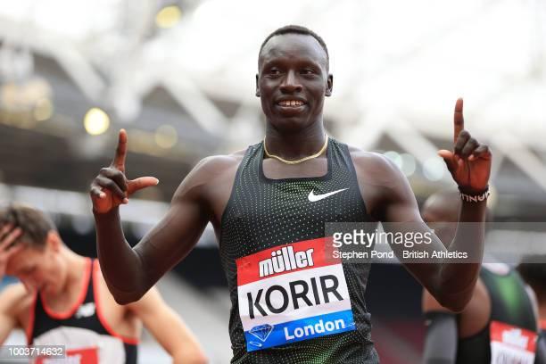 Emmanuel Kipkurui Korir of Kenya celebrates victory following the Men's 800m during Day Two of the Muller Anniversary Games at London Stadium on July...