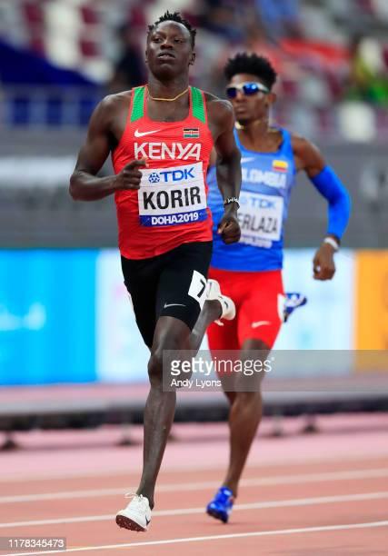 Emmanuel Kipkurui Korir of Kenya competes in the Men's 400 Metres heats during day five of 17th IAAF World Athletics Championships Doha 2019 at...