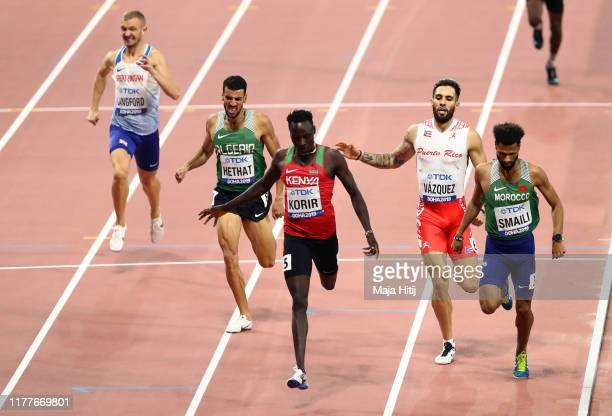 Emmanuel Kipkurui Korir of Kenya, Mostafa Smaili of Morocco and Wesley Vázquez of Puerto Rico compete in the Men's 800 metres heats during day two of...