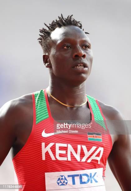 Emmanuel Kipkurui Korir of Kenya reacts after competing in the Men's 400 Metres heats during day five of 17th IAAF World Athletics Championships Doha...