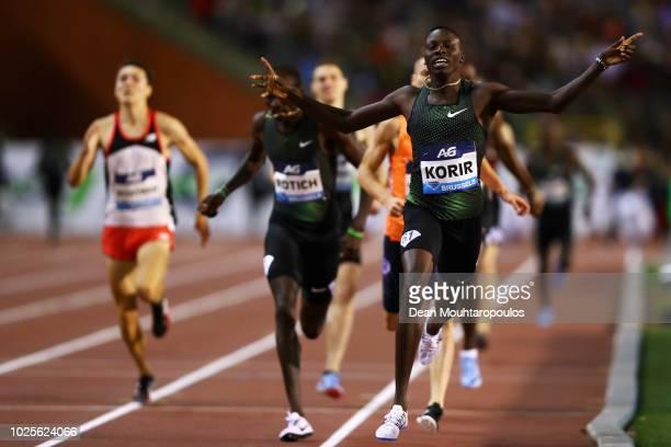Emmanuel Kipkurui Korir of Kenya wins the men's 800m race during the IAAF Diamond League AG Memorial Van Damme at King Baudouin Stadium on August 31,...