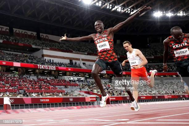Emmanuel Kipkurui Korir of Team Kenya celebrates winning the gold medal in the Men's 800m Final on day twelve of the Tokyo 2020 Olympic Games at...