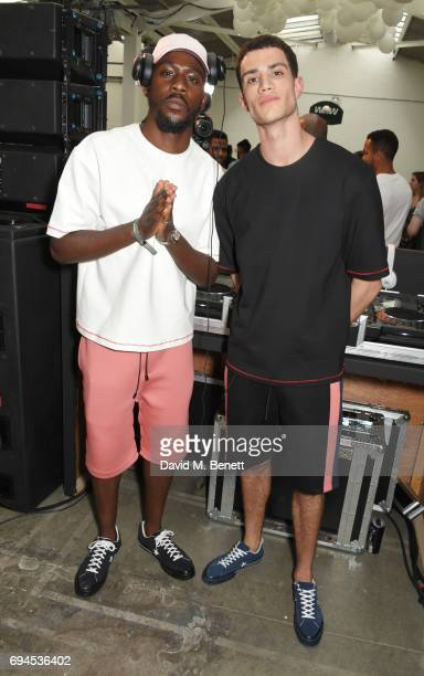 Emmanuel Lawal and Ashton Gohil of Audio Coming Soon DJ at the What We Wear presentation during London Fashion Week Men's June 2017 at The Old Truman...