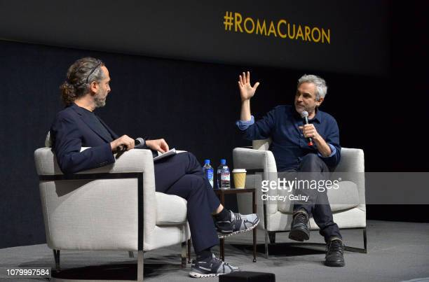 Emmanuel Lubezki and Alfonso Cuarón speak onstage at the Netflix 'Roma' Experience at Raleigh Studiods on December 09, 2018 in Los Angeles,...