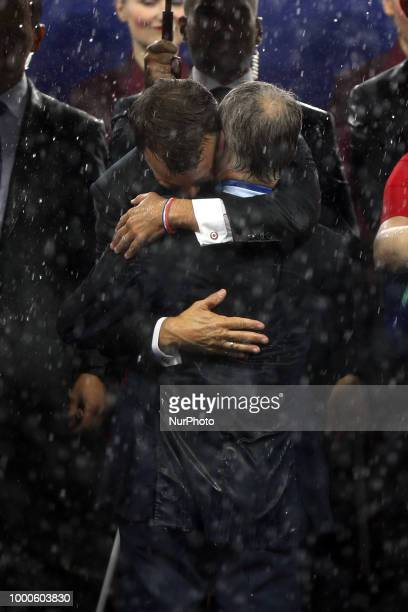 Emmanuel Macron and Didier Deschamps during Russia 2018 World Cup final football match between France and Croatia at the Luzhniki Stadium in Moscow...