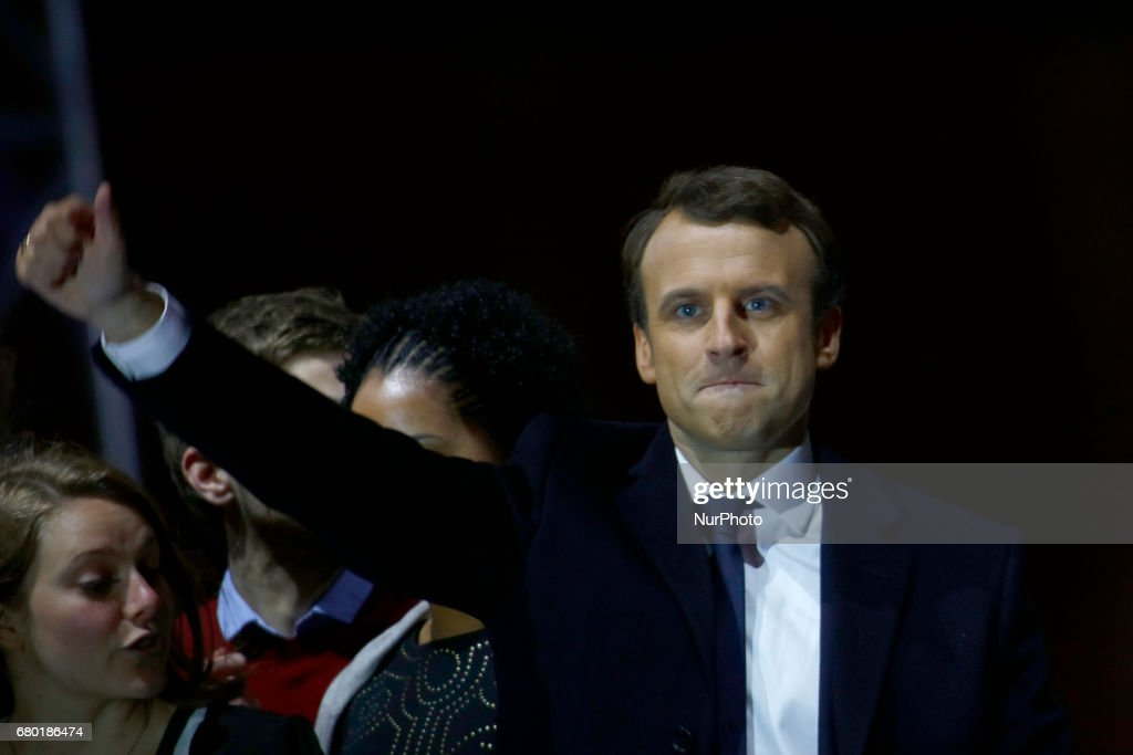 Emmanuel Macron Celebrates His Presidential Election Victory At Le Louvre In Paris : News Photo