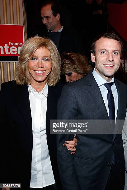 Emmanuel Macron and his wife Brigitte Trogneux attend Theater Play 'A Tort Et A Raison' at Theatre Hebertot on January 25 2016 in Paris France